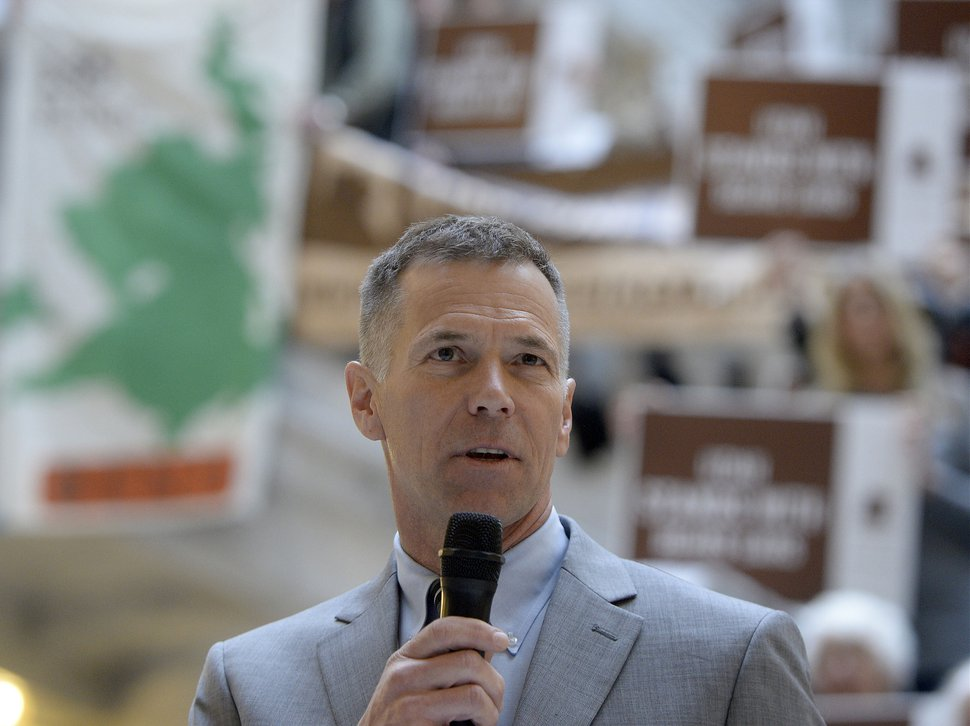 (Al Hartmann | The Salt Lake Tribune) Scott Groene, of the Southern Utah Wilderness Alliance, speaks to conservation community groups gathered at the Utah Capitol rotunda.
