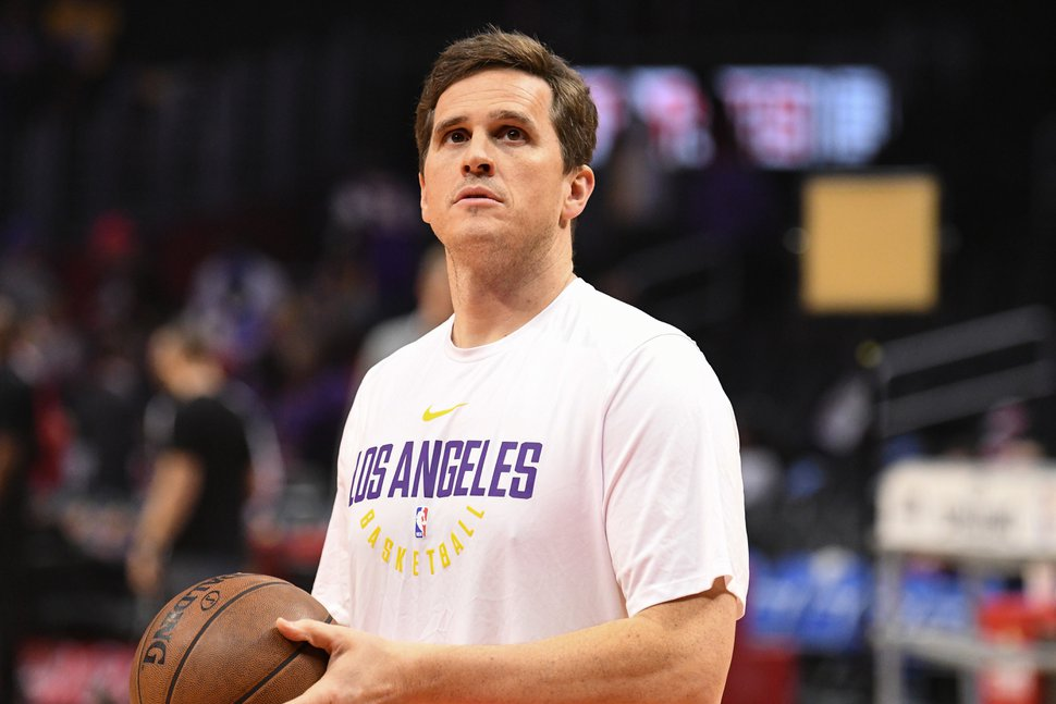 (Brian Rothmuller | Icon Sportswire via AP) Los Angeles Lakers Assistant Coach Mark Madsen looks on before an NBA game between the Los Angeles Lakers and the Los Angeles Clippers on November 27, 2017 at STAPLES Center in Los Angeles, Calif.