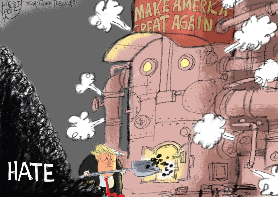 (Pat Bagley | The Salt Lake Tribune) This Pat Bagley cartoon, titled Stoking Hate, appears in The Salt Lake Tribune on Tuesday, July 16, 2019.