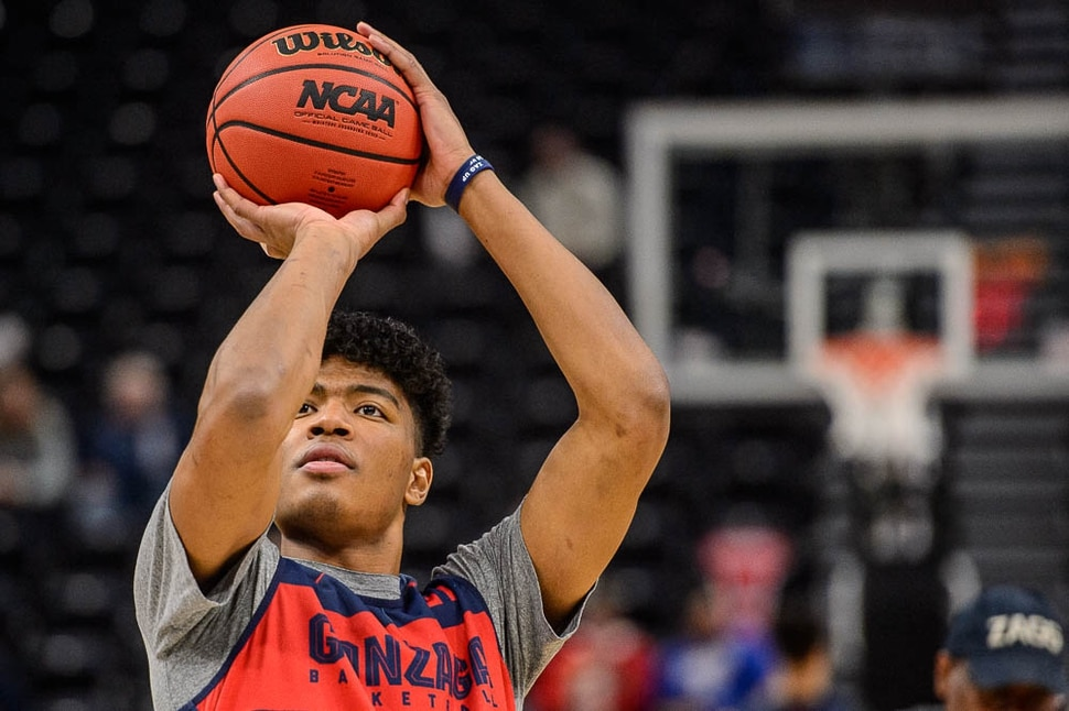 (Trent Nelson | The Salt Lake Tribune) Gonzaga Bulldogs forward Rui Hachimura (21) as the Gonzaga Bulldogs practice for the 2019 NCAA Tournament in Salt Lake City on Wednesday March 20, 2019.