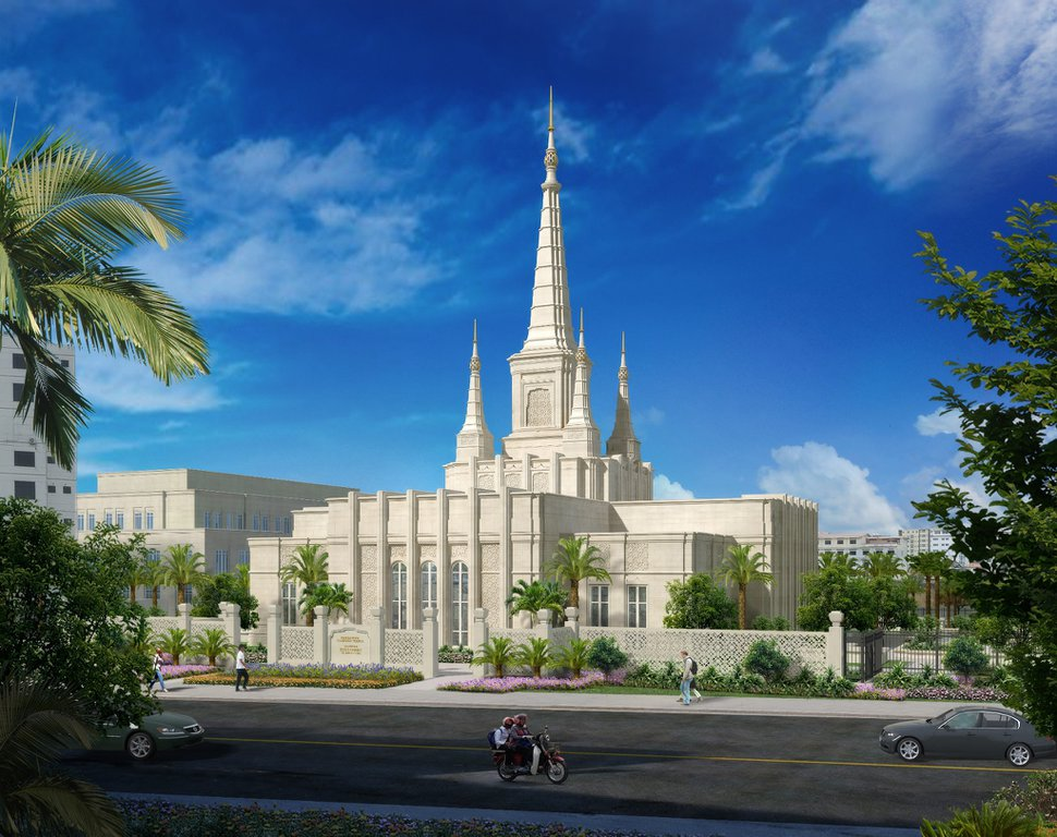 (Rendering courtesy of The Church of Jesus Christ of Latter-day Saints) The Phnom Penh Cambodia Temple.