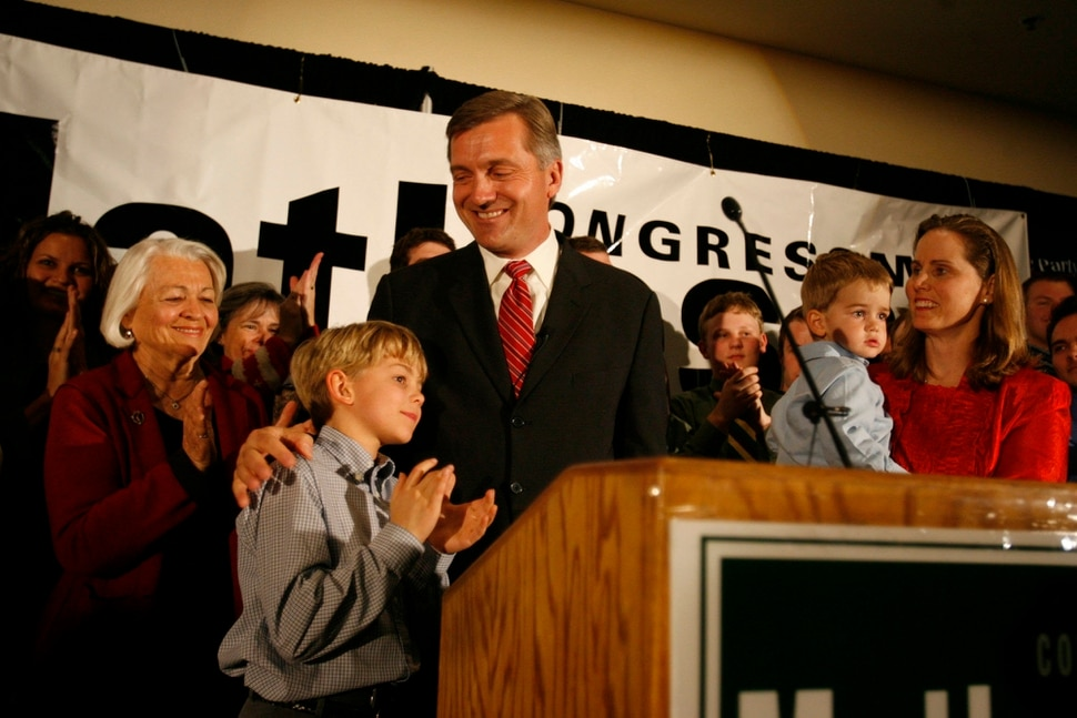 (Trent Nelson | Tribune file photo) Norma Matheson, left, watches as her son Jim Matheson gives a victory speech after winning an election in 2004.