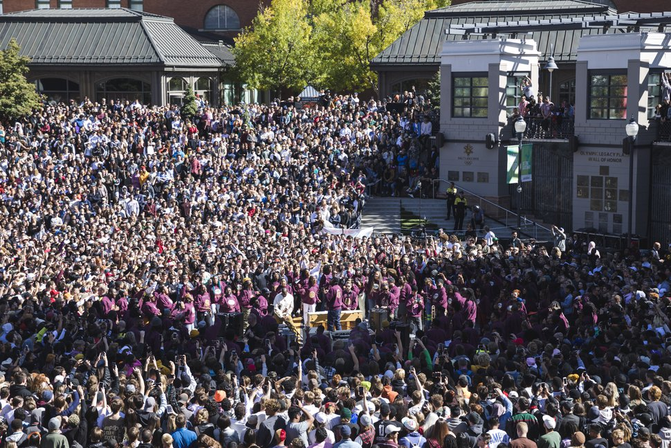 (Clark Clifford | Special to The Salt Lake Tribune) Thousands cram into Olympic Plaza surrounding Kanye West and his gospel choir during his Sunday Service at The Gateway in Salt Lake City on Saturday, Oct. 5, 2019.