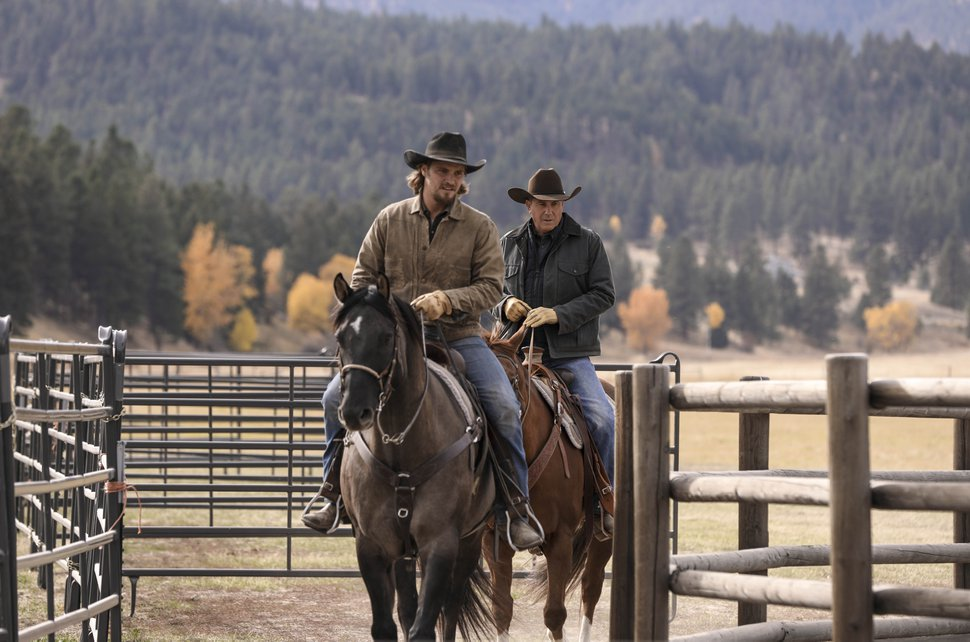 "(Photo courtesy Paramount Network) Luke Grimes as Kayce Dutton and Kevin Costner as John Dutton in ""Yellowstone."""