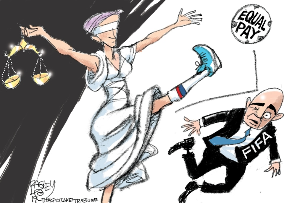(Pat Bagley | The Salt Lake Tribune) This Pat Bagley cartoon, titled Penalty Kick, appears in The Salt Lake Tribune on Tuesday, July 9, 2019.