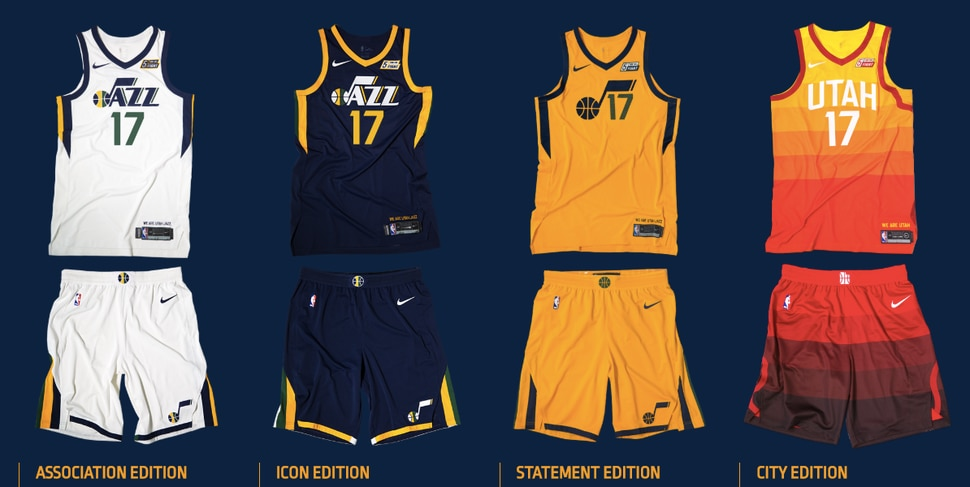 6d1af518eb3 Four of the uniforms the Jazz will wear this year. Rubio announced the  fifth look