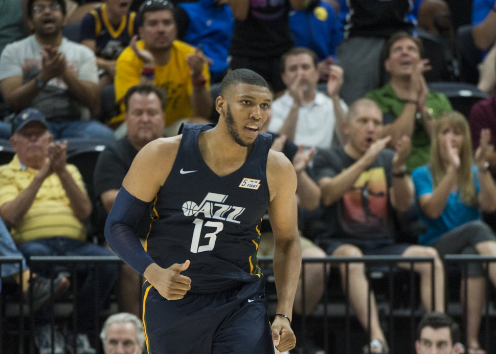 (Rick Egan | The Salt Lake Tribune) The crowd reacts as Utah Jazz center Tony Bradley (13) brings the Jazz back within 4 points, in Utah Jazz summer league action between Utah Jazz and Memphis Grizzlies in Salt Lake City, Tuesday, July 3, 2018.