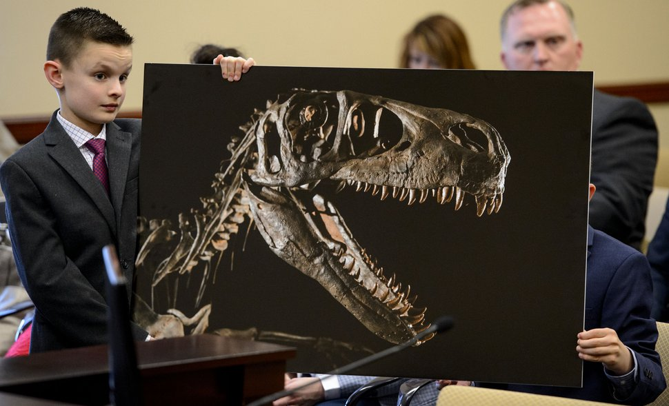 (Steve Griffin | The Salt Lake Tribune) Kenyon Roberts, 10, from Draper, holds a photograph of a Utahraptor on display at BYU, during testimony in front of the Senate Economic Development and Workforce Services Committee at the State Capitol in Salt Lake City, Friday, Feb. 2, 2018. S.B. 43 the State Dinosaur Amendment is looking to make the state dinosaur the Utahraptor.