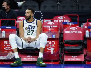 (Matt Slocum   AP) Utah Jazz's Rudy Gobert sits on the bench in the final seconds of overtime during an NBA basketball game, Wednesday, March 3, 2021, in Philadelphia.
