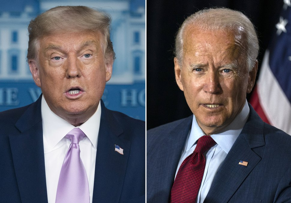 (AP file photos) President Donald Trump, left, and former Vice President Joe Biden.