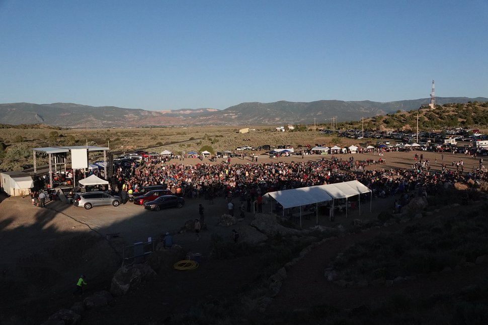 (Connor Sanders | The Salt Lake Tribune ) Concertgoers gathered at the Iron Springs Resort to hear a free concert by country singer Collin Raye, organized by Utah Business Revival leader Eric Moutsos to protest COVID-19 restrictions.
