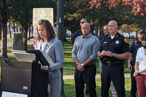 (Connor Sanders) Mayor Erin Mendenhall addresses reporters during a news conference about crime rates and gun violence in Salt Lake City Tuesday.