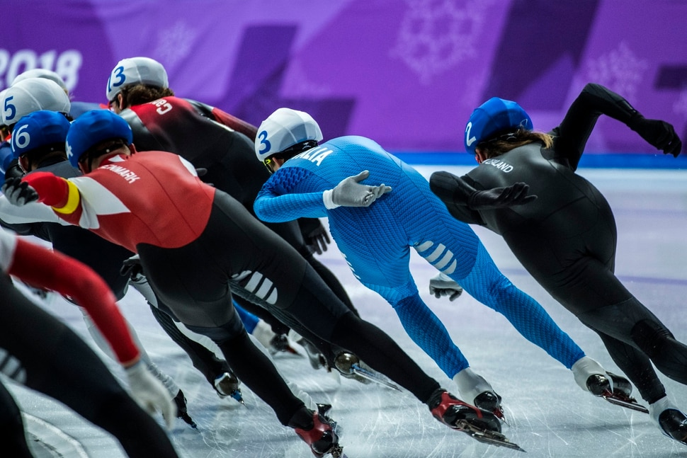 (Chris Detrick | The Salt Lake Tribune) Competitors race in the Men's Mass Start Finals at Gangneung Oval during the Pyeongchang 2018 Winter Olympics Saturday, Feb. 24, 2018.