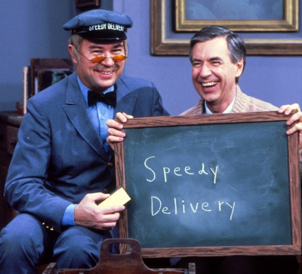 (Photo courtesy PBS) David Newell as Mr. McFeely and Fred Rogers on