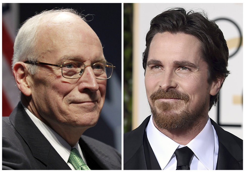 In this combination photo, former Vice President Dick Cheney, left, appears at the Conservative Political Action Conference in Washington on Feb. 10, 2011, and actor Christian Bale appears at the 73rd annual Golden Globe Awards in Beverly Hills, Calif. Bale has confirmed that he will play Cheney in Adam McKay's planned biopic of the former vice president. (AP Photo/Alex Brandon, left, and Jordan Strauss, Files)