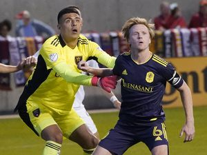 (Rick Bowmer   AP) Real Salt Lake goalkeeper David Ochoa, left, and Nashville SC midfielder Dax McCarty (6) battle for position during the second half of an MLS soccer match on May 15, 2021, in Sandy. Ochoa faced 29 shots and had eight saves against FC Dallas on Saturday, May 22, 2021, in Frisco Texas.
