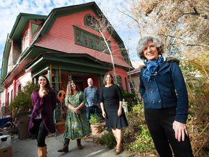 "(Francisco Kjolseth  |  The Salt Lake Tribune) Greta deJong, right, longtime publisher of Catalyst magazine is joined by her staff outside of the magazine's HQ, a large pink house called ""Big Pink."" Pictured are Sophie Silverstone, communications outreach director, Polly Mottonen, art director, John deJong, associate publisher, and Jenn Blum, content and communications manager, from left. Catalyst magazine, a Salt Lake City-based magazine for wellness and other New Age topics, is ending its print run after nearly 40 years — shifting to online publication."