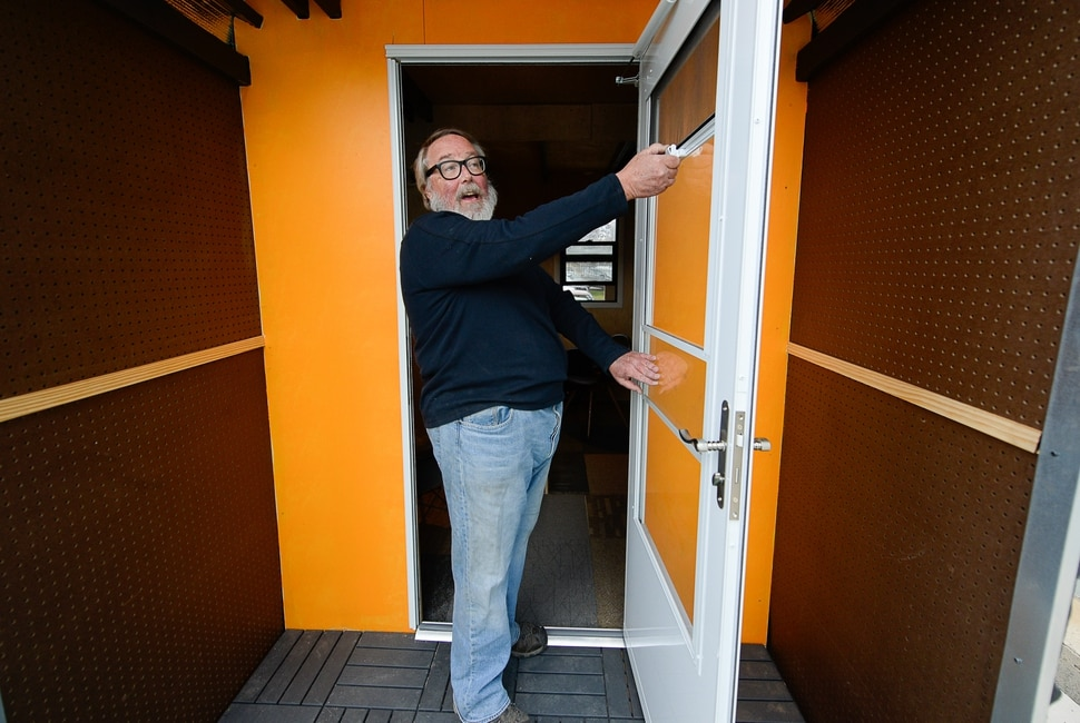 (Francisco Kjolseth | The Salt Lake Tribune) Small-home architect Jeff White gives a tour of his prototype Toaster House parked in South Salt Lake on Wednesday, Oct. 2, 2019. Toaster, an acronym for temporary, orderly, affordable, safe, transportable, effective and respectful, aims to help address a possible gap in homelessness services. He envisions the temporary, 60 square foot spaces as a way to stabilize people and move them into permanent supportive housing in conjunction with Salt Lake City's homeless outreach team.