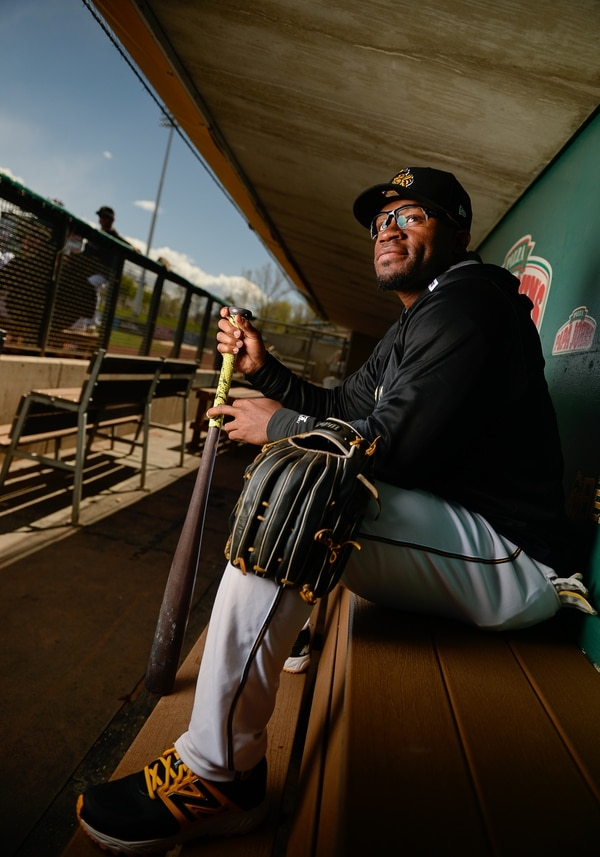 Francisco Kjolseth | The Salt Lake Tribune Outfielder Eric Young Jr. Salt Lake Bees' annual media day, a prelude to the start of the season, kicks off at Smith's Ballpark on Tuesday, April 4, 2017.