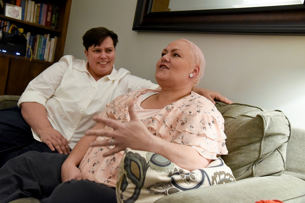(Francisco Kjolseth | The Salt Lake Tribune) Patsy Carter, left, and Raylynn Marvel-Carter reflect on their time together at their home in Midvale since they tried to marry in Utah County and faced obstruction for a few days following the Kitchen v. Herbert decision on Dec. 20, 2013.