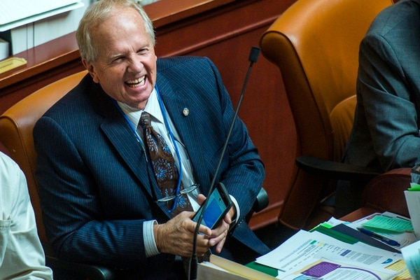 Chris Detrick | The Salt Lake Tribune Rep. Mike Noel, R-Kanab, celebrate the passage of H.B. 82, Street-legal All-terrain Vehicle Amendments, in the House of Representatives at the Utah State Capitol Wednesday February 15, 2017.