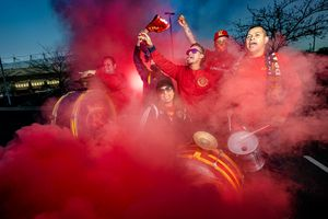 (Francisco Kjolseth  | The Salt Lake Tribune) Members of La Barra Real, a supporter group of almost all Hispanic RSL fans express their passion for the game during a recent portrait. Pictured from left on Tuesday, April 6, 2021, are Exon Avila, Farith Gonzalez, Argeniz Mansfield, Luis Alarcon, Miguel Gomez and Juan Garcia. Some Hispanic RSL fans say their connection with the club has dwindled in the last several years, whether it be due to a lack of high-profile players in that demographic, poor on-field performance or not enough help and messaging in their native language. The club says it wants to connect with the Hispanic fan base more and is currently in the process of launching several initiatives.