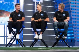 (Francisco Kjolseth | The Salt Lake Tribune) BYU quarterbacks, from left, Jaren Hall, Baylor Romney and Jacob Conover answer questions during BYU Football Media Day at the BYU Broadcasting Building in Provo on Thursday, June 17, 2021