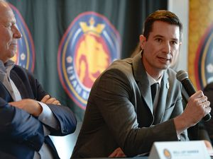(Francisco Kjolseth  |  The Salt Lake Tribune) Owner of the Utah Royals FC, Dell Loy Hansen, left, is joined by his new coach, Craig Harrington, former Chicago Red Stars assistant as he answers questions from the media during a press event at Rio Tinto Stadium in Sandy, Utah on Friday, Feb. 7, 2020.