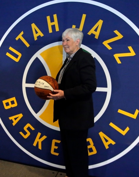 Gail Miller, owner of the the Larry H. Miller Group of Companies, poses for a photograph after announcing she will transfer ownership of the Utah Jazz and Vivint Smart Home Arena to a Legacy Trust in order to keep the franchise in Utah for generations, Monday, Jan. 23, 2017, in Salt Lake City. (AP Photo/Rick Bowmer)