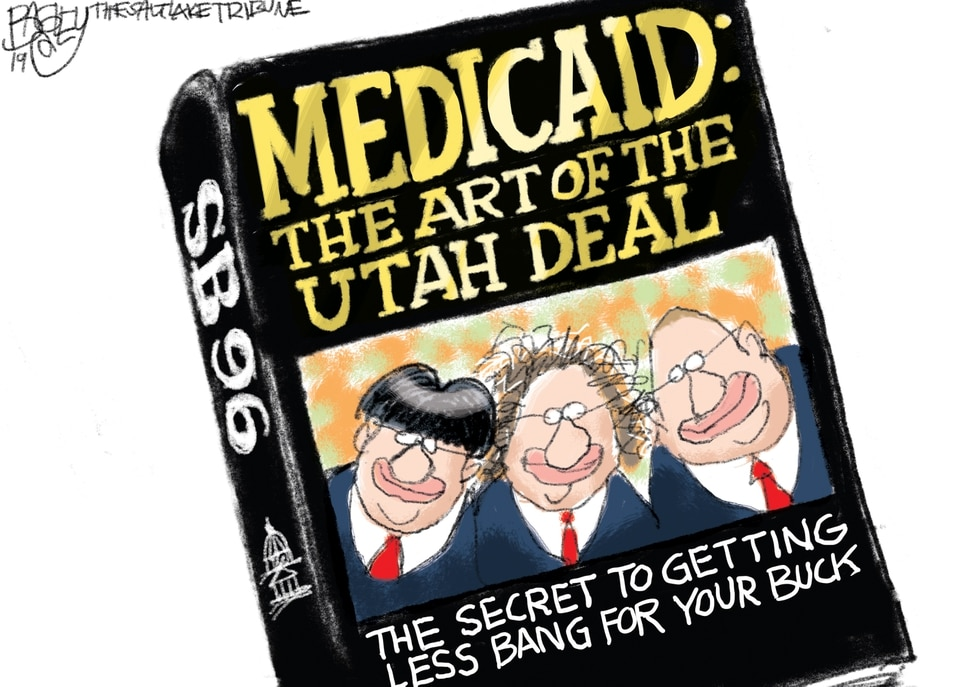 "(Pat Bagley | The Salt Lake Tribune) This cartoon, titled ""Medicaid Expansion for Dummies,"" appears in The Salt Lake Tribune on Friday, August 23, 2019."
