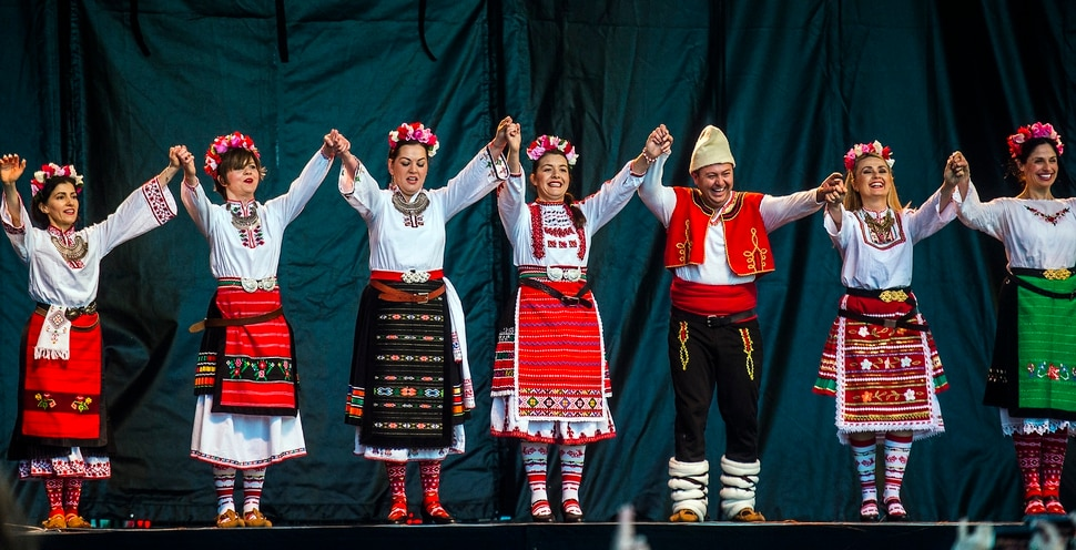 Chris Detrick | The Salt Lake Tribune Members of Bulgarka Bulgarian music and dance group perform during the 32nd annual Living Traditions Festival at Library Square Friday, May 19, 2017.