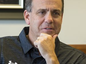 (Rick Egan  |  The Salt Lake Tribune)    Mark Harlan talks about his first week on the job as Athletic Director at the University of Utah in his new office at the Huntsman Center, Friday, June 29, 2018.
