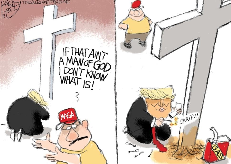 "(Pat Bagley | The Salt Lake Tribune) This Pat Bagley cartoon, titled ""Cross Purposes,"" appears in The Salt Lake Tribune on Wednesday, April 17, 2019."