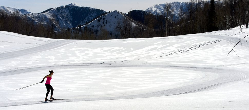 Steve Griffin | The Salt Lake Tribune The snowshoe trail at the Sundance Nordic Center criss crosses the nordic ski trail in Provo Canyon Thursday March 9, 2017.