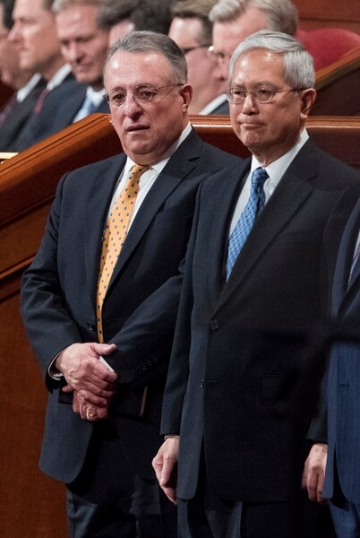 (Rick Egan | The Salt Lake Tribune) Gerrit W. Gong and Ulisses Soares take their seats with the quorum of the 12 apostles, during the morning session of the 188th Annual General Conference in Salt Lake City, Saturday, March 31, 2018.