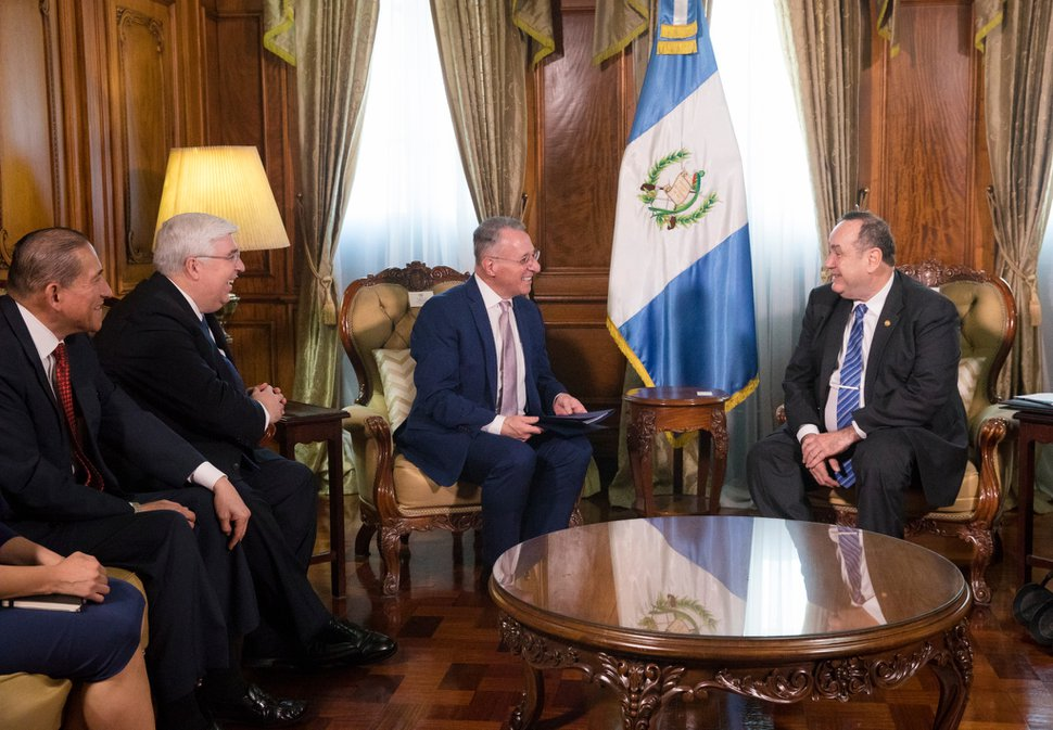 (Photo courtesy of The Church of Jesus Christ of Latter-day Saints) Ulisses Soares of the Quorum of the Twelve Apostles, Elder José A. Teixeira of the Presidency of the Seventy and Elder Juan A. Uceda of the Seventy discuss humanitarian projects with Guatemalan President Alejandro Giammattei at the National Palace in Guatemala City on Tuesday, Feb. 11, 2020.