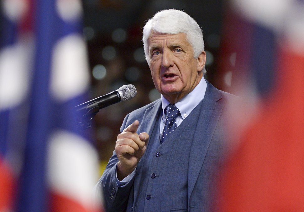 (Leah Hogsten | The Salt Lake Tribune) Rep. Rob Bishop of Utah's 1st Congressional District delivers his re-election speech at the Utah Republican Convention Saturday, April 21, 2018 at the Maverik Center in West Valley City.