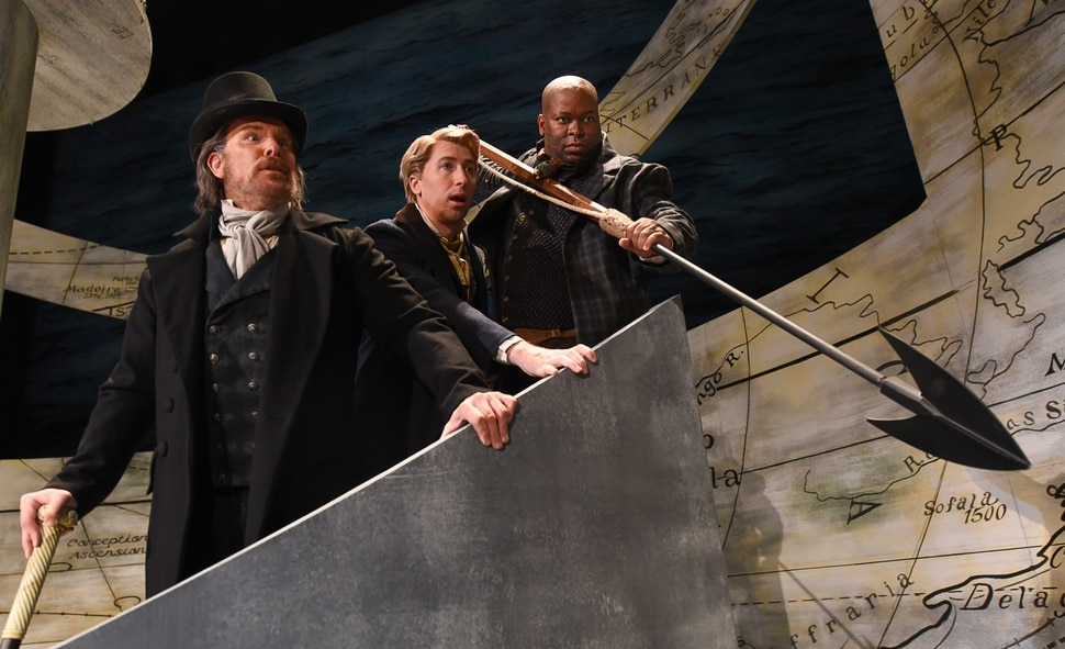 (Francisco Kjolseth | The Salt Lake Tribune) Cast of Utah Opera's Moby-Dick, Roger Honeywell as Captain Ahab, Musa Ngqungwana as Queequeg and Joshua Dennis as Greenhorn, the narrator, who, unlike in the novel, doesn't ask us to call him Ishmael until the very end of the opera, come together on the large set.