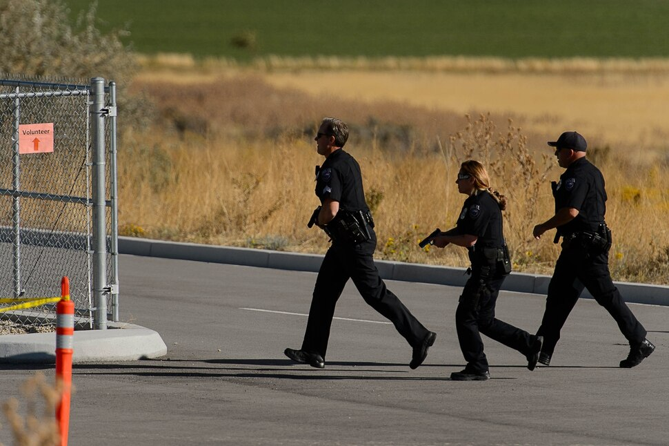 (Trent Nelson | The Salt Lake Tribune) During a drill, first responders respond to an active-shooter situation in Lehi Tuesday October 10, 2017. The exercise was designed to test first responder and area hospital capabilities under stressful circumstances.