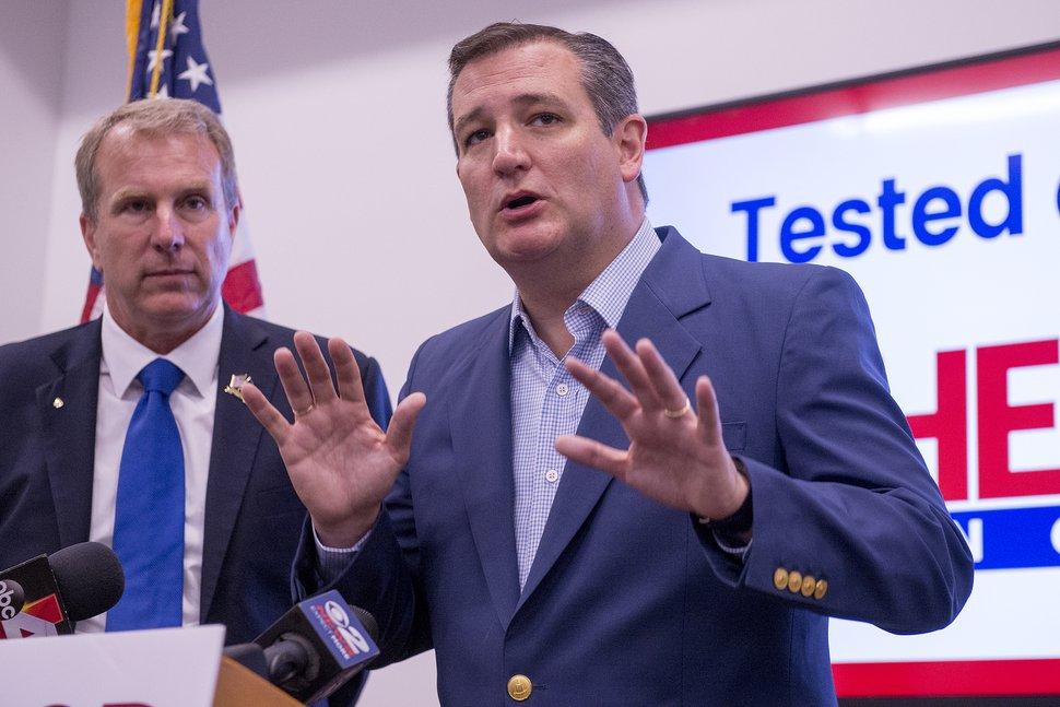 Leah Hogsten | The Salt Lake Tribune Republican Sen. Ted Cruz of Texas rallies for Utah's 3rd District primary candidate, former state Rep. Chris Herrod, June 29, 2017 at Entrata in Lehi.