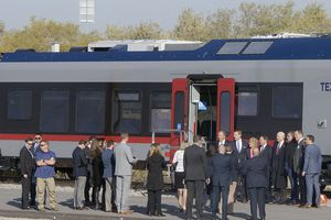 (Al Hartmann  |  Tribune file photo)  Stadler company officers and Utah leaders tour one of Stadler's new TEXRail trains. The company broke ground for a new Stadler plant at 100 S. 5600 West in Salt Lake City, Oct. 13, 2017. Stadler US is an affiliate of a Swiss rail-car-manufacturing company. The project has received a tax incentive from the Governor's Office of Economic Development, which anticipates it will result in the creation of dozens of new, high-paying jobs.