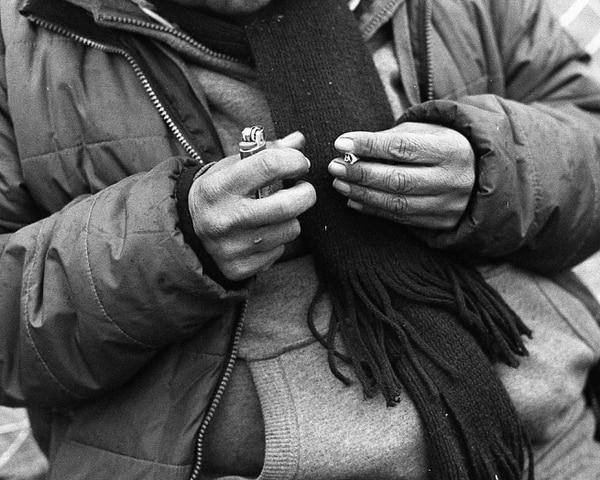 (Ryan Trimble) A woman in Salt Lake City's Rio Grande area prepares to smoke a spice joint.