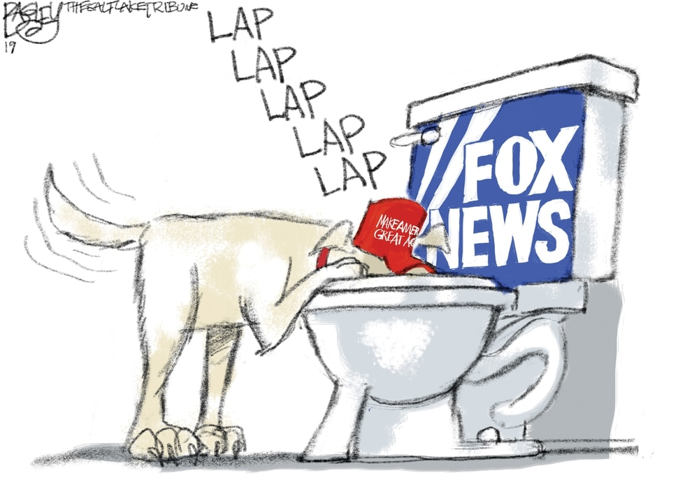 (Pat Bagley | The Salt Lake Tribune) This cartoon by Pat Bagley titled The Font of Fox Wisdom appears in The Salt Lake Tribune on Thursday, April 25, 2019.