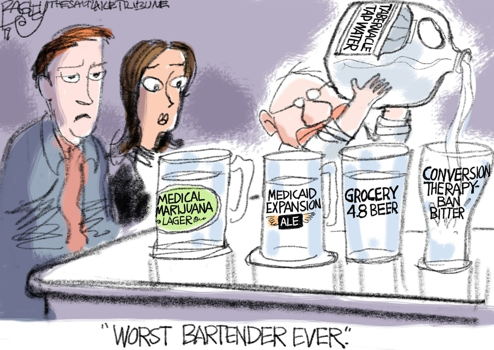 This Pat Bagley cartoon appears in The Salt Lake Tribune on Thursday, March 7, 2019.