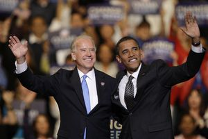 (Lynne Sladky | AP file photo)   In this Oct. 29, 2008, photo vice presidential candidate Joe Biden, D-Del., left, and Democratic presidential candidate Sen. Barack Obama, D-Ill., right, wave during a rally at the Bank Atlantic Center in Sunrise, Fla.