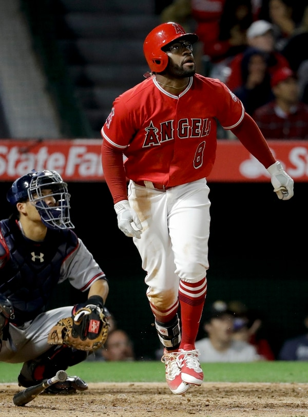 Los Angeles Angels' Eric Young Jr. watches his home run against the Atlanta Braves during the eighth inning of a baseball game in Anaheim, Calif., Wednesday, May 31, 2017. (AP Photo/Chris Carlson)