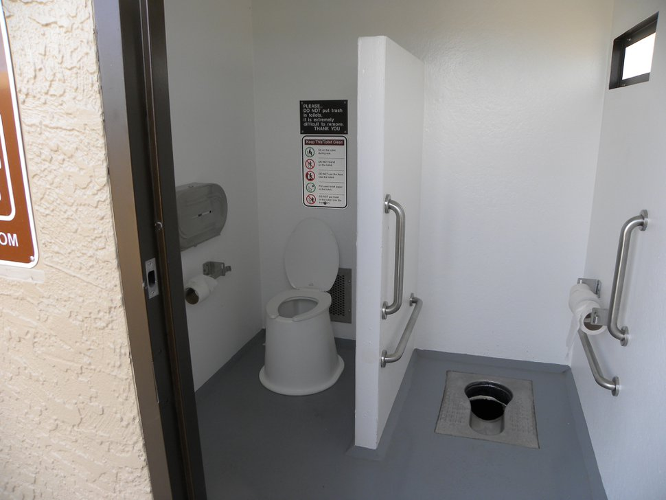 | Courtesy Arches/Canyons National Parks New toilets installed last year at Arches National Park include a squatting-style option preferred by visitors from Asian countries, particularly China.