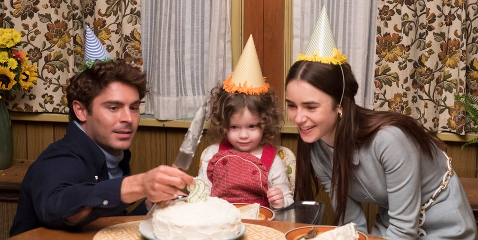 (Brian Douglas | courtesy Sundance Institute) Zac Efron, left, portrays serial killer Ted Bundy, here with his unsuspecting girlfriend Liz Kloepfer (Lily Collins, right) and her daughter (Macie Carmosino), in Joe Berlinger's