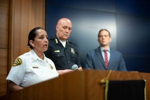 (Trent Nelson  |  The Salt Lake Tribune)  Salt Lake County Sheriff Rosie Rivera, Salt Lake City Police Chief Mike Brown, and Brian Redd, Utah Department of Public Safety at a news conference in Salt Lake City on Tuesday April 9, 2019 addressing a crime spree and shootout the day before.