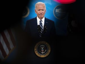 (Doug Mills | The New York Times)  President Joe Biden speaks about the COVID-19 response and the state of vaccinations, from the South Court Auditorium of the Eisenhower Executive Office Building, on the White House grounds in Washington, Monday, March 29, 2021. Biden appeared in western Pennsylvania Wednesday, March 31, 2021, afternoon to unveil his $2 trillion infrastructure plan, a far-reaching proposal that he will seek to pay for with a substantial increase in corporate taxes.